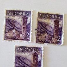 Sellos: 3 SELLOS DE ANDORRA 2 PTAS, 1963 - IGLESIA DE SANTA COLOMA - USADOS SIN SEÑAL DE FIJASELLOS. Lote 296581428