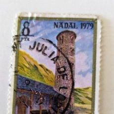 Sellos: SELLO DE ANDORRA 8 PTAS, 1979 - NAVIDAD - USADOS SIN SEÑAL DE FIJASELLOS. Lote 296581693