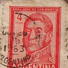 Sellos: ARGENTINA, SAN MARTIN 1963 SELLO 4 PESOS. STAMP ARGENTINE. Lote 21220235