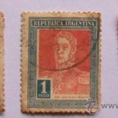Sellos: ARGENTINA, JOSÉ DE SAN MARTIN 3 SELLOS 1 PESO. 3 STAMPS OF A WEIGHT. Lote 23759633