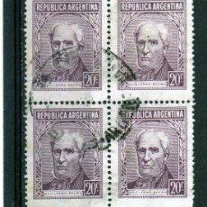 Sellos: SELLOS EN BLOQUE DE 4 DE ARGENTINA AÑO 1958 USADOS. Lote 23247249