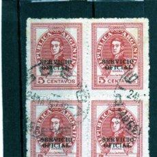 Sellos: SELLOS EN BLOQUE DE 4 DE ARGENTINA AÑO 1958 USADOS. Lote 23247288