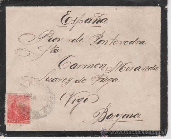 SOBRE REPUBLICA ARGENTINA - VIGO - BAYONA - 21 SEPTIEMBRE 1913 (Sellos - Extranjero - América - Argentina)