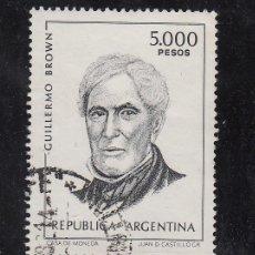 Sellos: ARGENTINA 1212 USADA, ALMIRANTE GUILLERMO BROWN . Lote 26513188