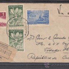 Sellos: ARGENTINA 564/6 PRIMER DIA, CIRCULADA CERTIFICADO CORDOBA (ARGENTINA) A VEDADO (CUBA), LLEGADA CUBA. Lote 26553121