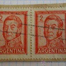 Sellos: 2 SELLOS DE ARGENTINA. 2 PESOS. ROJO. GENERAL JOSÉ DE SAN MARTÍN. MATASELLADOS.. Lote 28496870
