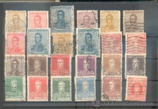 LOTE CON 24 SELLOS DEL GENERAL SAN MARTÍN.- 1917/1924 (Sellos - Extranjero - América - Argentina)