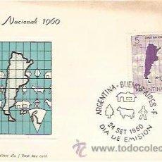 Sellos: TARJETA PRIMER DIA CENSO NACIONAL 1960 ARGENTINA BUENOS AIRES 24 SET 1960. Lote 38981826