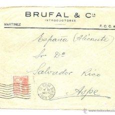 Sellos: CARTA CIRCULADA DE BUENOS AIRES A ASPE (ALICANTE) AÑO 1923 - BRUFAL & CIA INTRODUCTORES. Lote 40883046