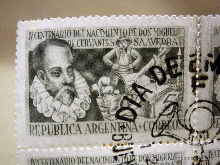 Sellos: 4 SELLOS, DIA DE EMISION, 1947, REPUBLICA ARGENTINA, 4 CENTENARIO DE NACIMIENTO DE CERVANTES - Foto 2 - 43817970