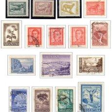 Sellos: ARGENTINA.- SELLOS DE 1959-62 PRÓCERES Y RIQUEZAS NACIONALES, EN USADO. Lote 45104761