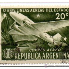 Sellos: ARGENTINA.-CORREO AÉREO. YVERT Nº 39, EN USADO. Lote 45637081