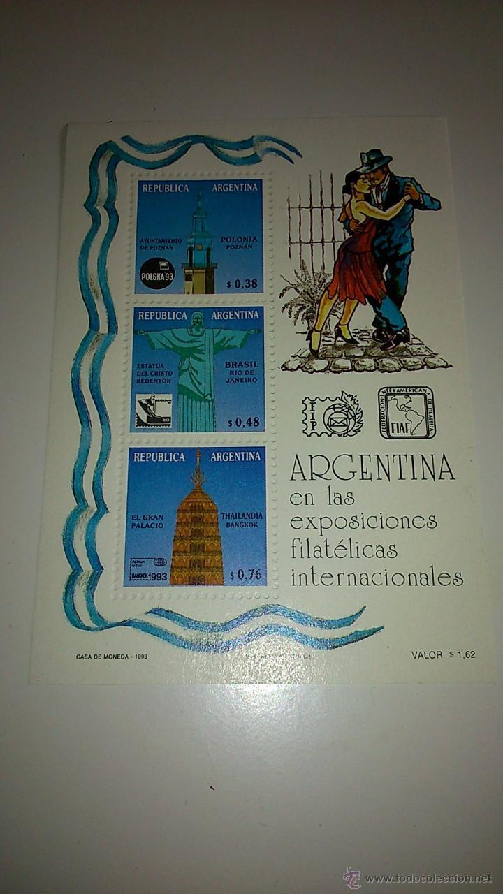 HOJA BLOQUE DE ARGENTINA. EXPOSICIONES FILATELISTAS INTERNACIONALES (Sellos - Extranjero - América - Argentina)