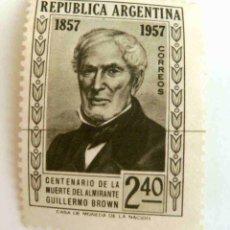 Sellos: SELLOS ARGENTINA 1957. NUEVO CON CHARNELA. ALMIRANTE GUILLERMO BROWN.. Lote 47536268