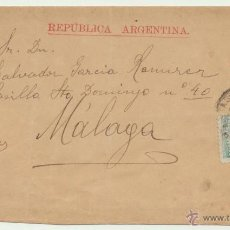 Sellos: CARTA (SOBRE ENTERO POSTAL) DE BUENOS AIRES A MALAGA DEL 27 OCT. 1890. FRANQUEADO CON 1 + 3 CENTA-. Lote 52479834