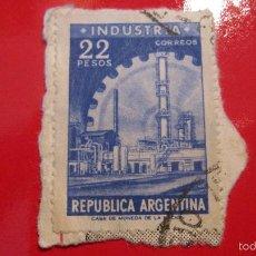 Sellos: SELLO ARGENTINA: INDUSTRIA 22 PESOS. AZUL. Lote 56516031