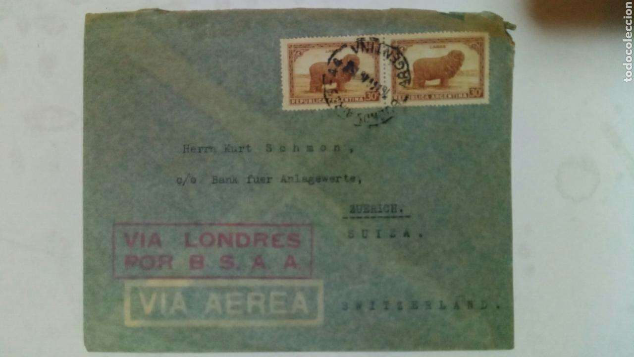 Sellos: Argentina dos sobres circulados de Argentina a Suiza vía aérea por B. S. A. A. - Foto 3 - 74331646