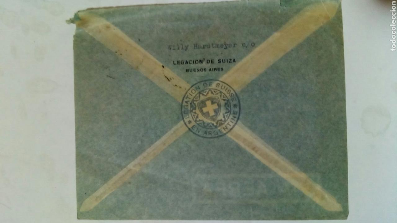 Sellos: Argentina dos sobres circulados de Argentina a Suiza vía aérea por B. S. A. A. - Foto 4 - 74331646