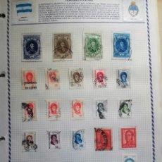 Sellos: ARGENTINA, 4 HOJAS CON 75 SELLOS USADOS CON CHARNELA DIFERENTES. Lote 91329670