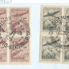 Sellos: VUELOS SOBRE CATARATAS DE IGUAZÚ Y SOBRE LOS ANDES. DOS BLOQUES CON SELLOS 1º DÍA 10-6-1946. Lote 99181215