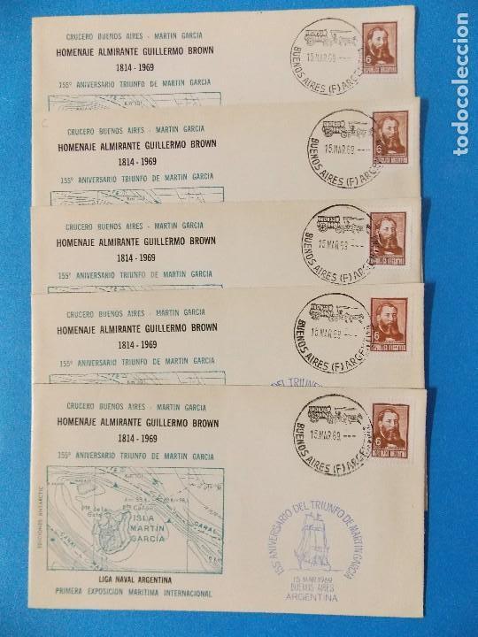 5 SOBRES PRIMER DIA- HOMENAJE ALMIRANTE GUILLERMO BROWN- BUENOS AIRES - ARGENTINA- AÑO 1969 -.R-8376 (Sellos - Extranjero - América - Argentina)