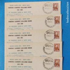 Sellos: 5 SOBRES PRIMER DIA- HOMENAJE ALMIRANTE GUILLERMO BROWN- BUENOS AIRES - ARGENTINA- AÑO 1969 -.R-8376. Lote 112157183