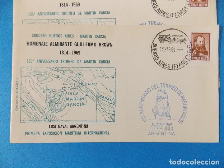 Sellos: 5 SOBRES PRIMER DIA- HOMENAJE ALMIRANTE GUILLERMO BROWN- BUENOS AIRES - ARGENTINA- AÑO 1969 -.R-8376 - Foto 2 - 112157183