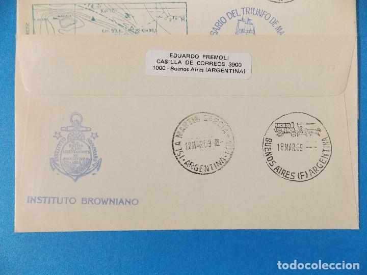 Sellos: 5 SOBRES PRIMER DIA- HOMENAJE ALMIRANTE GUILLERMO BROWN- BUENOS AIRES - ARGENTINA- AÑO 1969 -.R-8376 - Foto 3 - 112157183