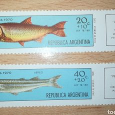Sellos: ARGENTINA 1970 YVERT 879 + A137 PRO INFANCIA FAUNA PECES. Lote 115633954