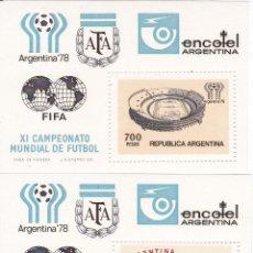 Sellos: 2 HOJAS BLOQUE DE ARGENTINA DEL CAMPEONATO MUNDIAL DE FUTBOL 1978 (AFA). Lote 115732819