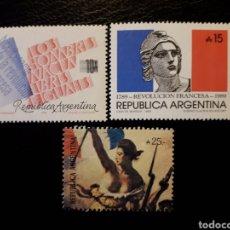 Sellos: ARGENTINA. YVERT 1680/1 + SELLO HB-40. SERIE COMPLETA NUEVA SIN CHARNELA. REVOLUCIÓN FRANCESA. Lote 127600828