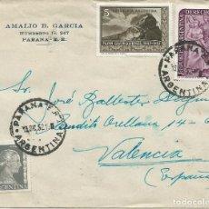 Sellos: 1952. SOBRE CIRCULADO DESDE PARANA A VALENCIA. INTERESANTE FRANQUEO. MATASELLOS LLEGADA AL DORSO.. Lote 144474706