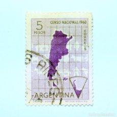 Sellos: SELLO POSTAL ARGENTINA 1960, 5 PESOS, CENSO NACIONAL 1960, CIRCULADO. Lote 149347826