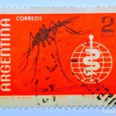 Sellos: SELLO POSTAL ARGENTINA 1962, 2 PESOS, ANOPHELES MOSQUITO, EL MUNDO UNIDO CONTRA EL PALUDISMO. Lote 149348662