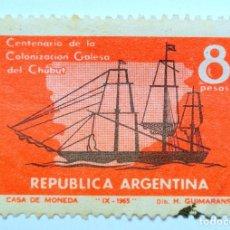 Sellos: SELLO POSTAL ARGENTINA 1965, 8 PESOS, CENTENARIO DE LA COLONIZACIÓN GALESA DE CHUBUT, SIN CIRCULAR. Lote 149350138