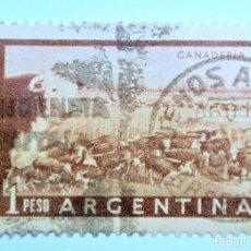Sellos: SELLO POSTAL ARGENTINA 1958, 1 PESO , GANADERIA , CIRCULADO. Lote 149351870