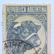 Sellos: SELLO POSTAL ARGENTINA 1945, 20 CENTAVOS , GANADERÍA , TORO , CIRCULADO. Lote 149354198