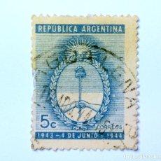 Sellos: SELLO POSTAL ARGENTINA 1944, 5 CENTAVOS, ANIVERSARIO ESCUDO DE ARMAS ARGENTINA, CIRCULADO. Lote 149371534