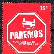 Sellos: ARGENTINA Nº 3158, PAREMOS, PLAN NACIONAL DE SEGURIDAD VIAL, AUTOMOVIL, USADO. Lote 149484054