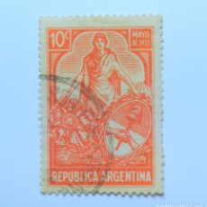 Sellos: SELLO POSTAL ARGENTINA 1935, 10 CENTAVOS, LIBERTAD MAYO DE 1935, CONMEMORATIVO, USADO. Lote 149769250