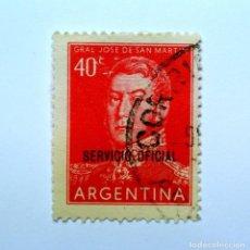 Sellos: SELLO POSTAL ARGENTINA 1955, 40 CENTAVOS, GENERAL JOSÉ DE SAN MARTÍN ,OVPT , USADO. Lote 149777574