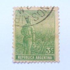 Sellos: ANTIGUO SELLO POSTAL ARGENTINA 1915, 3 C, AGRICULTOR , USADO. Lote 153575338