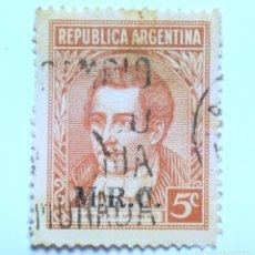 Sellos: ANTIGUO SELLO POSTAL ARGENTINA 1935 , 5 C, MARIANO MORENO, OVPT M.R.C., USADO *. Lote 153587002