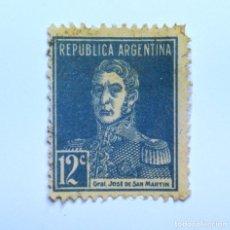Sellos: SELLO POSTAL ARGENTINA 1931, 12 C, JOSÉ FRANCISCO DE SAN MARTIN, USADO. Lote 153595866