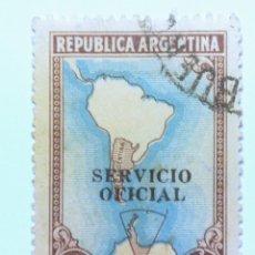 Sellos: SELLO POSTAL ARGENTINA 1956, 1 PESO, MAPA SUDAMERICA CON ANTARTICO,OVPT, USADO. Lote 153603874