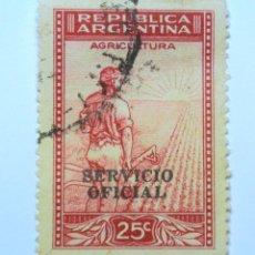 Sellos: SELLO POSTAL ARGENTINA 1938, 25 C ,AGRICULTURA , USADO. Lote 153656578