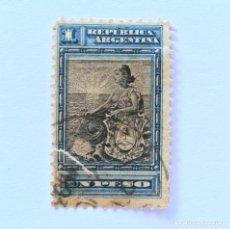 Sellos: SELLO POSTAL ARGENTINA 1899, 1 PESO, LIBERTAD SENTADA ,USADO. Lote 153675878