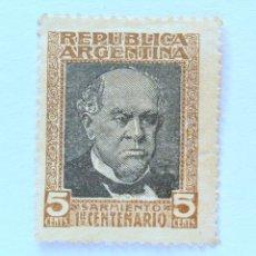 Sellos: SELLO POSTAL ARGENTINA 1911, 5 C, 1ER CENTENARIO DOMINGO F. SARMIENTO, USADO. Lote 153702030