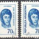 Sellos: ARGENTINA - DOS SELLO - EDIFIL #949 -***GENERALES - JOSE FCO. SAN MARTIN***- AÑO 1973 - USADOS. Lote 159013918
