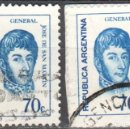 Sellos: ARGENTINA - DOS SELLOS - EDIFIL #949 -***GENERALES - JOSE FCO. SAN MARTIN***- AÑO 1973 - USADOS. Lote 159014194